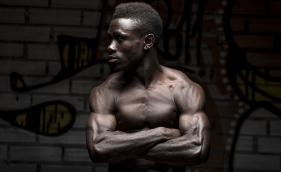 Portrait of a black man bodybuilder