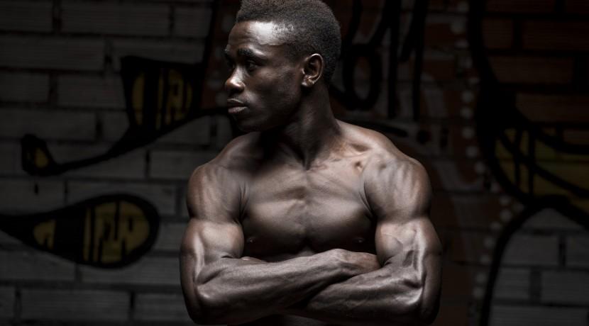 Portrait of a black man bodybuilder